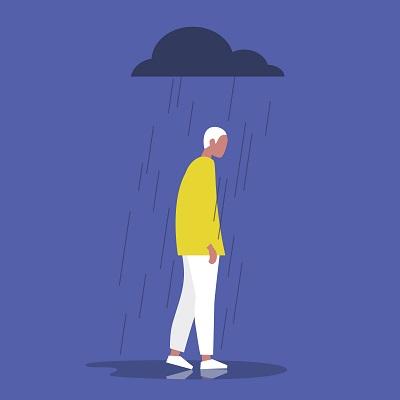 Piirroskuva: mies yksittäisen sadepilven alla