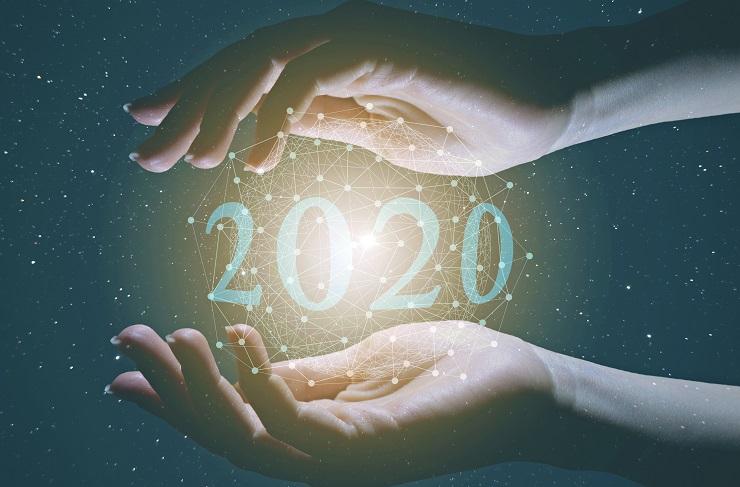 Illustraatio: kasien välissä tähtiä ja vuosiluku 2020